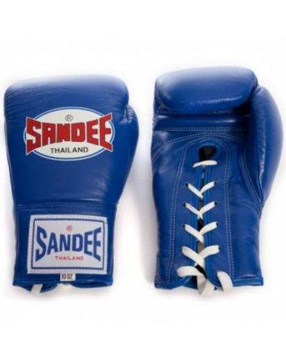 Sandee Lace Up Pro Fight Boxing Gloves Blue