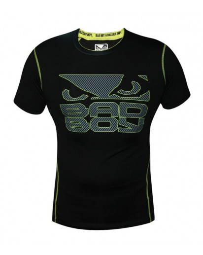 Bad Boy Carbon Rash Guard Short Sleeve Black/Neon Yellow