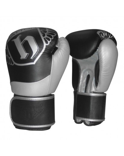 Hatton Pro Leather Sparring Gloves Black/Silver