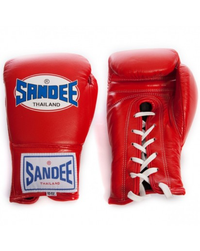 Sandee Lace Up Pro Fight Boxing Gloves Red