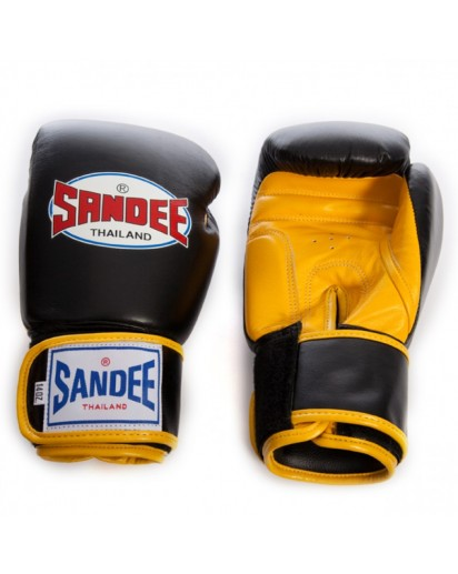 Sandee Velcro 2 Tone Boxing Gloves Black/Yellow