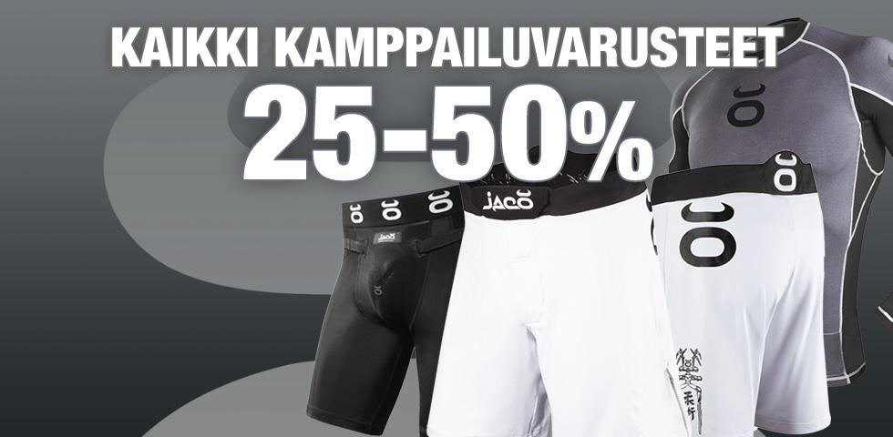 KAMPPAILUVARUSTEET 25-50 PROSENTIN ALENNUKSELLA