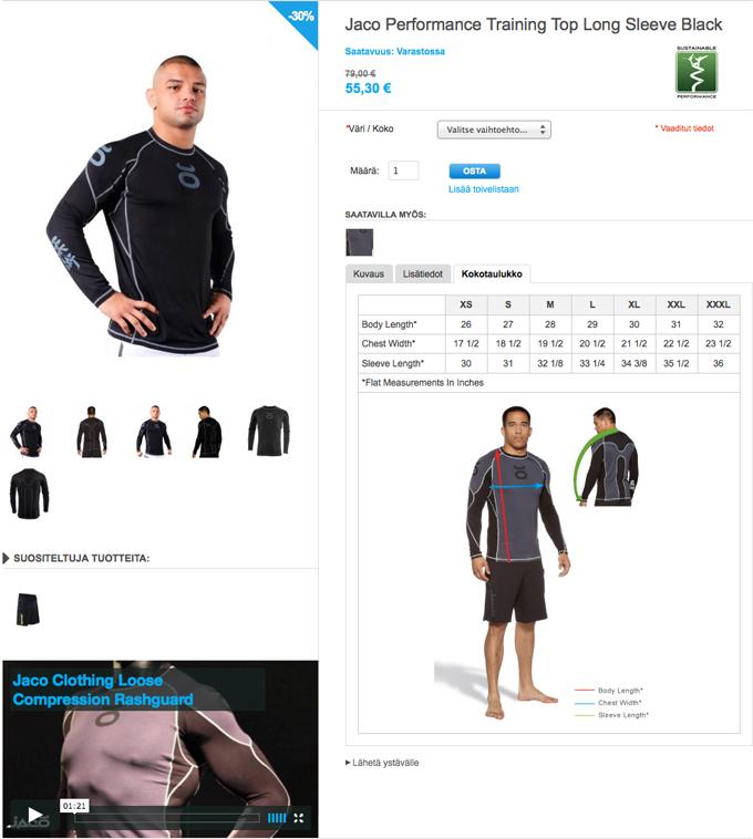 Rashguard-paitojen kokotaulukko print screen